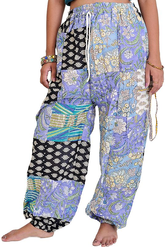 Casual Patchwork Trousers with Front Pockets