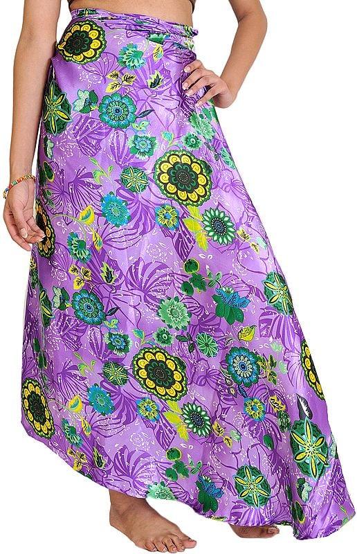 Dahlia-Purple Wrap-Around Skirt with Printed Flowers