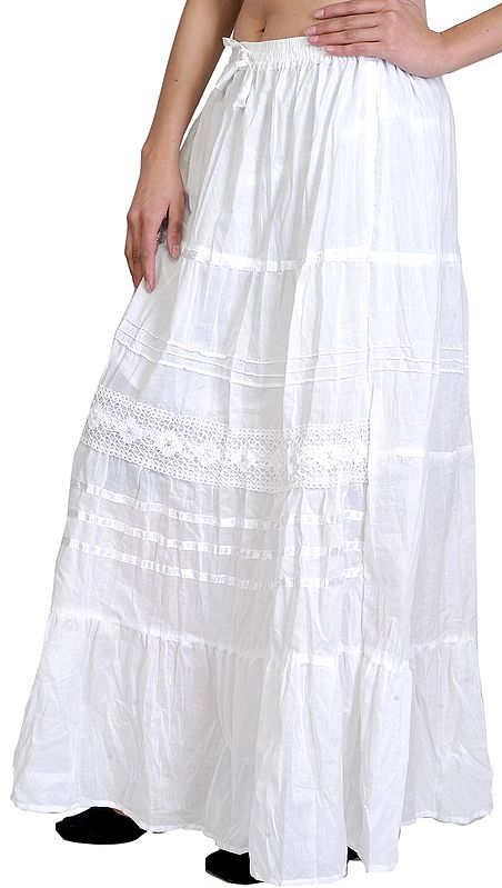 Plain Long-Skirt with Lace and Crochet