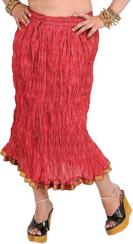 Garnet-Rose Elastic Midi Crinkled Skirt with Printed Paisleys and Gota Border