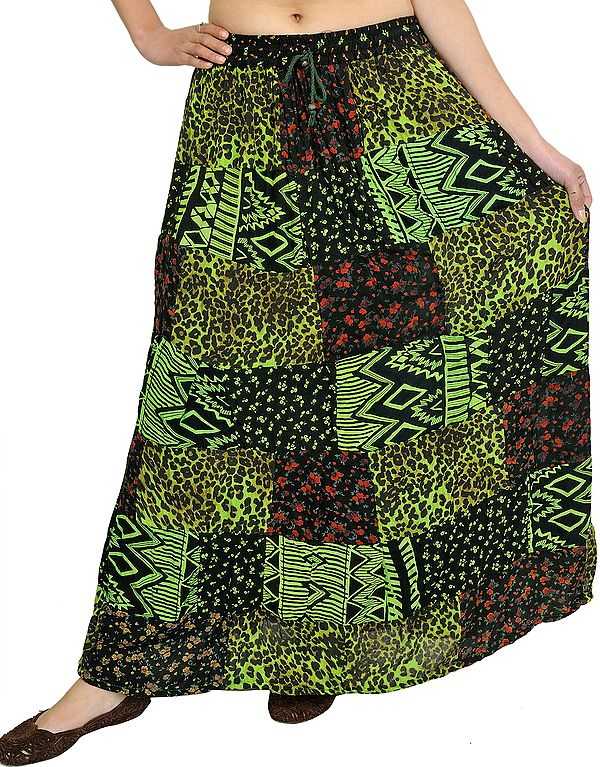 Printed Long Boho Skirt from Gujarat with Patch Work