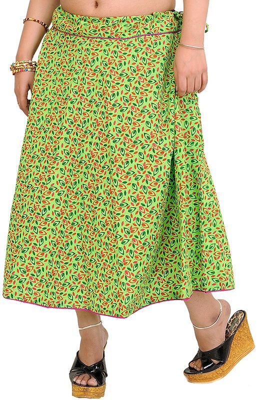 Flash-Green Drawstring Midi Skirt with Printed Leaves and Piping