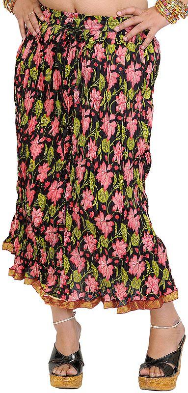 Black Crinkled Midi-Skirt with Printed Flower and Gota Border