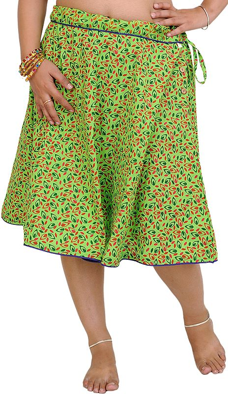 Bright-Lime Green Drawstring Short Skirt with Printed Leaves
