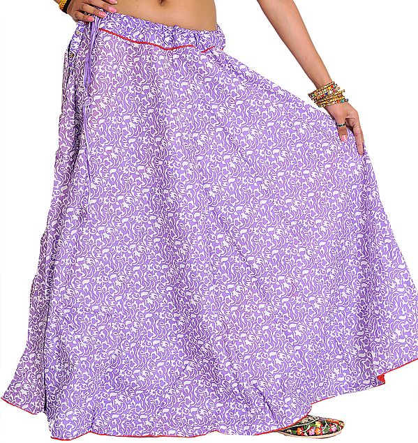 Floral Printed Ghagra Skirt from Pilkhuwa with Piping