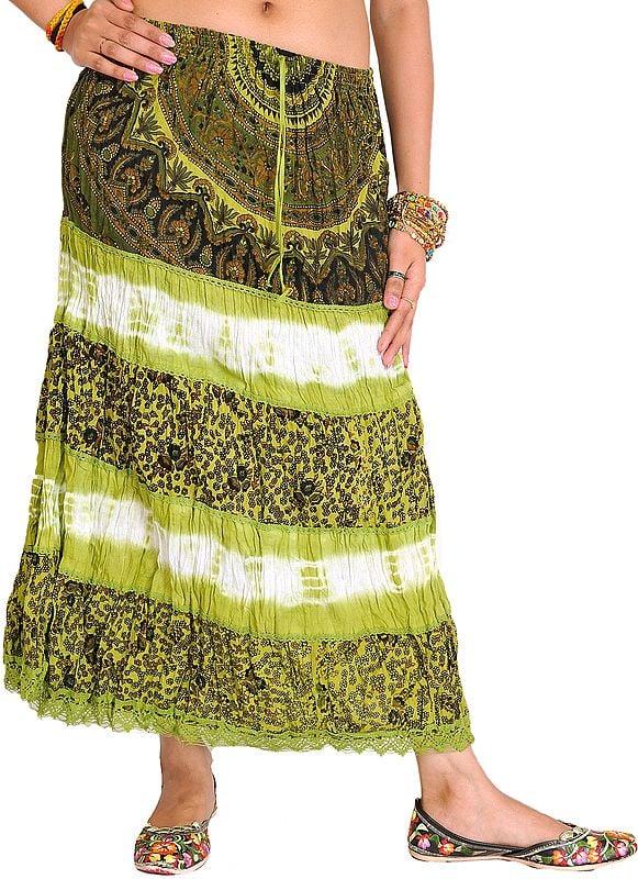 Batik-Dyed Midi Skirt with Printed Flowers