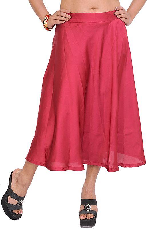 Plain Satin Midi Skirt
