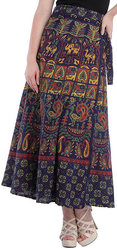 Wrap-Around Long Skirt from Pilkhuwa with Animal Print