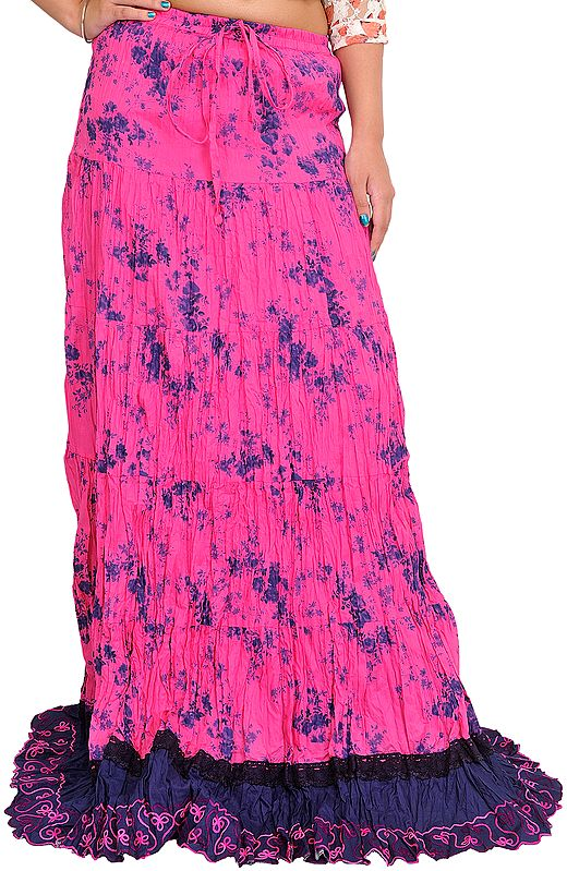 Azalea-Pink and Blue Floral Printed Long Crinkled Skirt with Patch Border