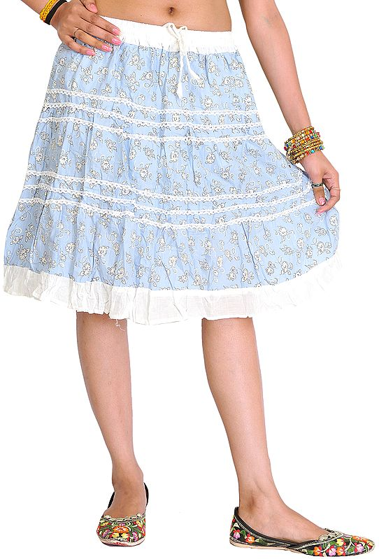 Powder-Blue and White Short Skirt with Printed Flowers and Lace