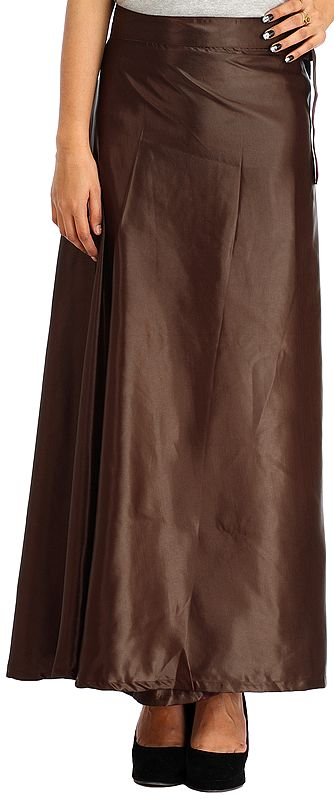 Plain Wrap-Around Maxi Satin Skirt