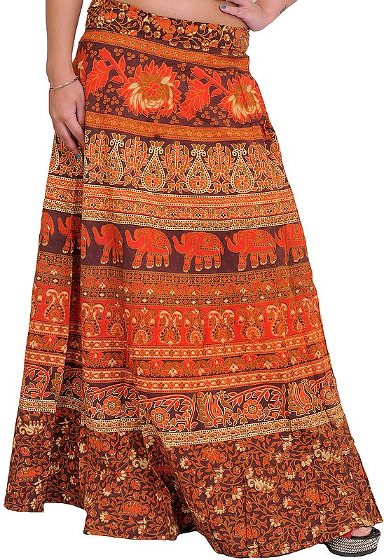 Wrap-Around Printed Skirt from Pilkhuwa with Floral Print and Elephants