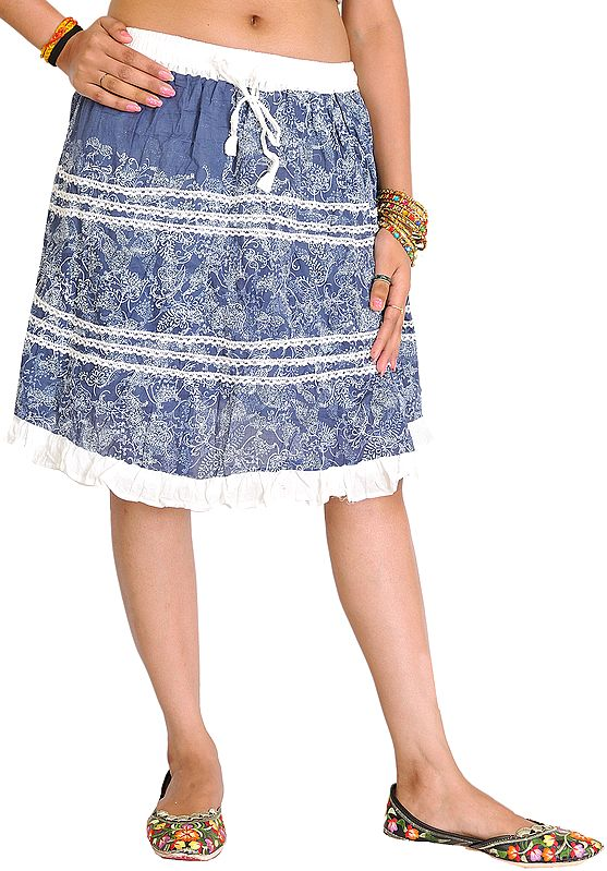 Blue and White Printed Short Skirt with Lace