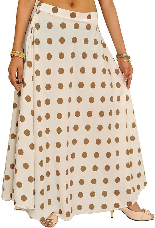 Pristine-White Long Skirt with Printed Polka Dots