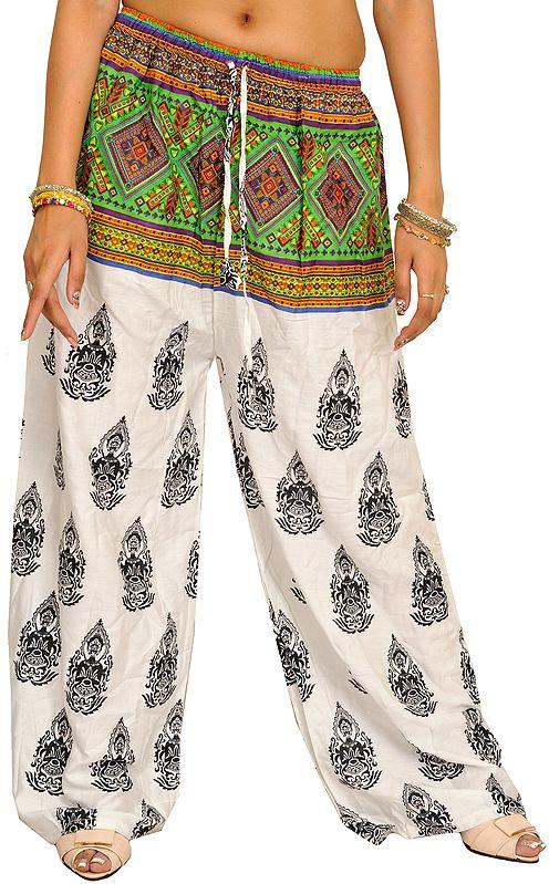 White Bohemian Yoga Trousers with Gautam Buddha Print