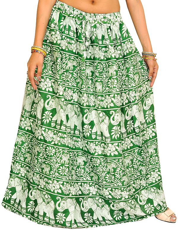 Juniper-Green Long Skirt with Printed Flowers and Elephants