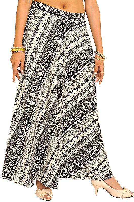 Black and White Printed Long Skirt