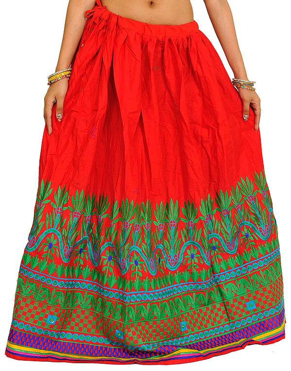 Tomato-Red Long Ghagra from Gujarat with Embroidered Border