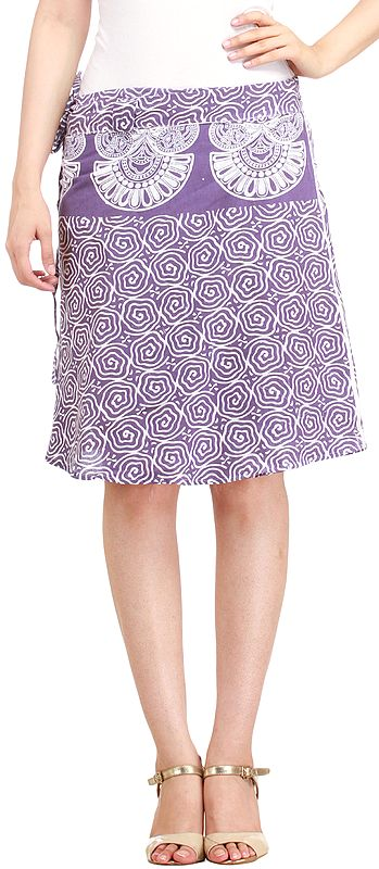 Wrap-Around Mini-Skirt from Pilkhuwa with Block Print