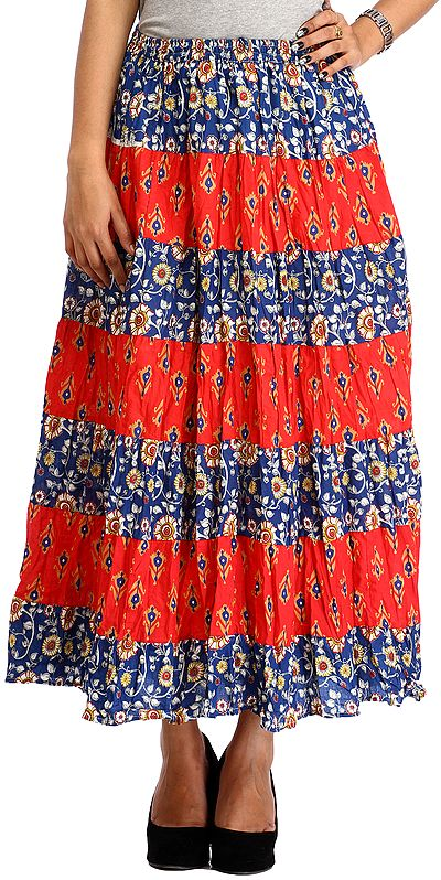 Blue and Red Long Skirt with Floral Print