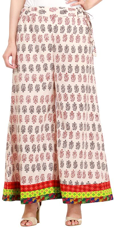 Cream-Pink Casual Palazzo Pant from Pilkhuwa with Block-Printed Paisleys and Patch Border