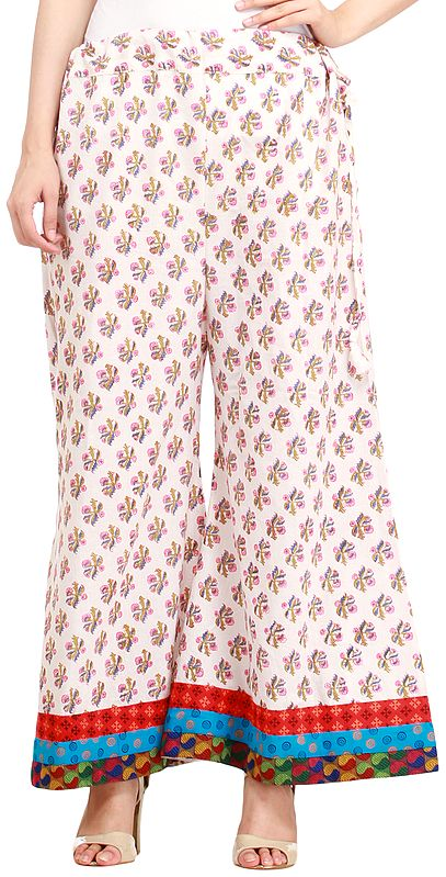 Star-White Casual Palazzo Pant from Pilkhuwa with Floral Bootis and Patch Border