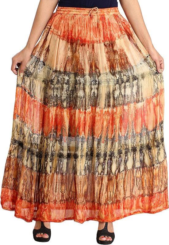 Batik-Dyed Elastic Long Skirt with Lace