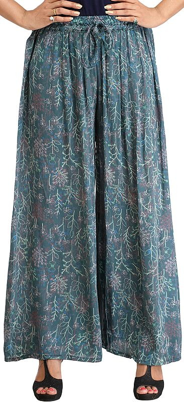 Colonial-Blue Casual Palazzo Pants with Printed Leaves
