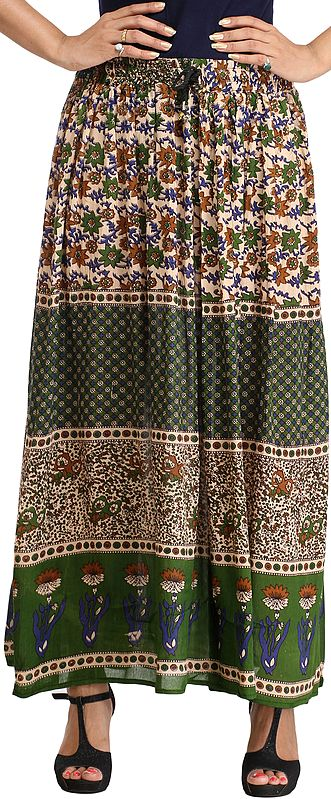 Beige and Green Long Skirt with Mughal Print