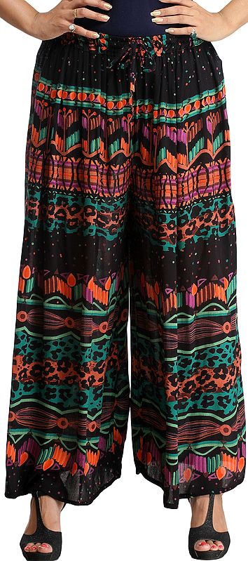 Black Wide Casual Trouser with Printed Leopard-Spots
