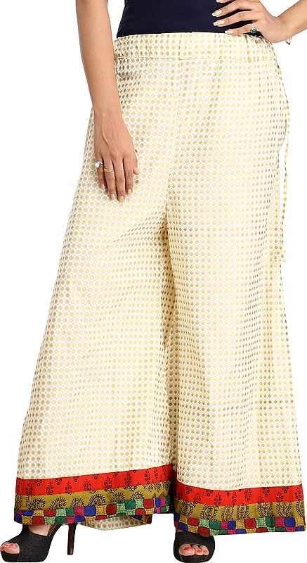 Ivory Palazzo Pants from Pilkhuwa with Printed Bootis and Patch Border
