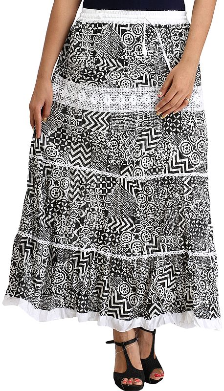 Black and White Long Skirt with Collage Print
