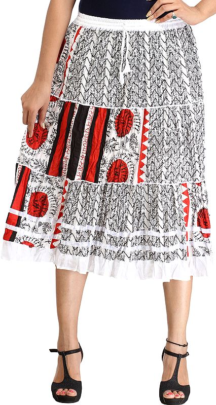 White and Red Midi Skirt with Warli Folk Print and Hindu Mantras