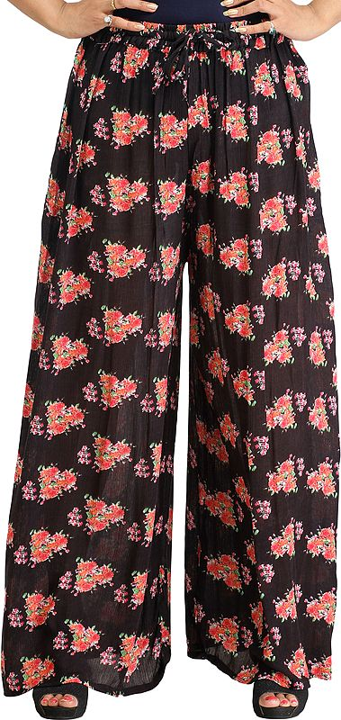 Phantom-Black Casual Palazzo Pants with Printed Roses