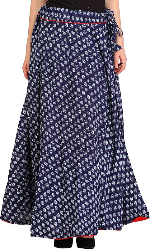 Dark-Blue Long Ghagra Skirt with Piping-work and Bagdoo-Printed Leaves All-Over