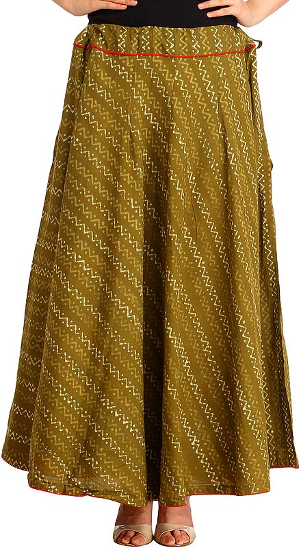 Gothic-Olive Long Skirt with Bagdoo-Printed Zigzag Stripes and Piping