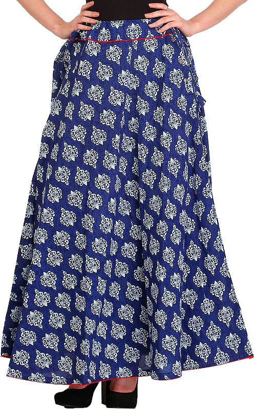 Deep-Ultramarine Long Skirt with Block-Printed Floral Bootis and Piping-work