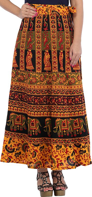 Wrap-Around Long Skirt from Pilkhuwa Printed with Auspicious Motifs