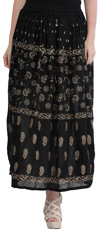 Jet-Black Elastic Long Skirt with Golden Print