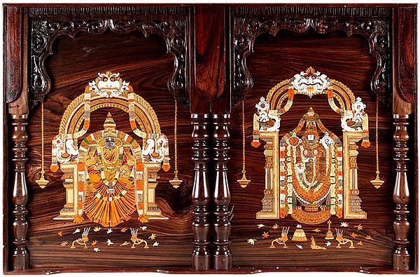 Goodess Padmavati and Lord Venkateshvara at Tirupati (Framed)