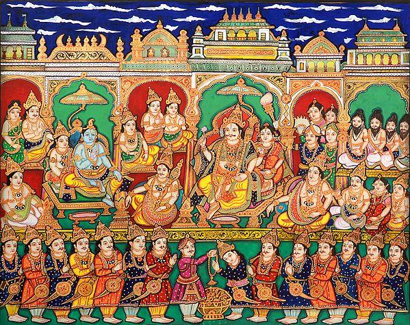 Yudhishthara in His Durbar
