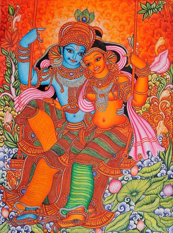 Radha and Krishna on Swing: Kerala Folk Style