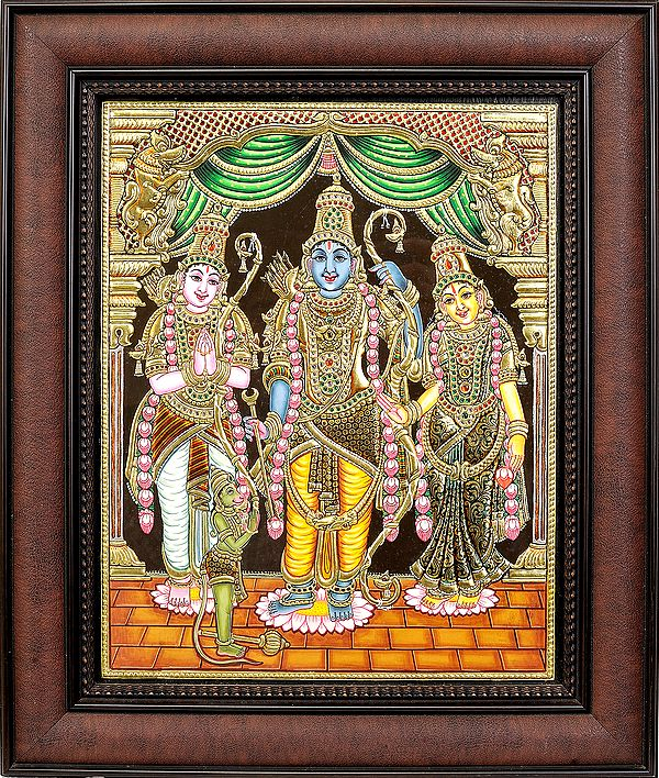 Shri Rama Ji with Sita Ji, Lakshman Ji and Hanuman Ji (Framed)