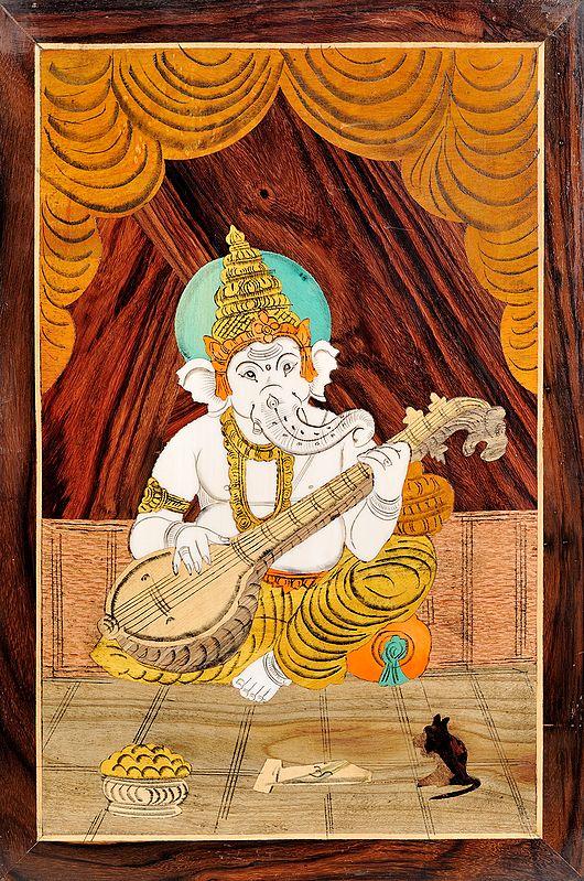 Lord Ganesha Playing Veena (Unframed)