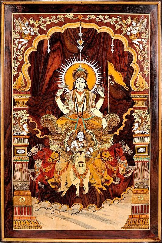 Bhagawan Surya on His Seven Horse Chariot (Framed)
