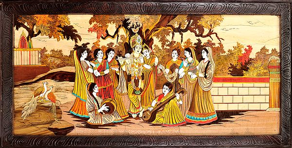 Radha and Krishna Surrounded by Gopis (Framed)