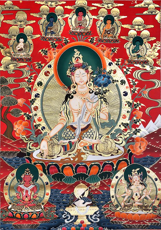 Superfine White Tara With Five Dhyani Buddhas - Tibetan Buddhist Super Large Thangka