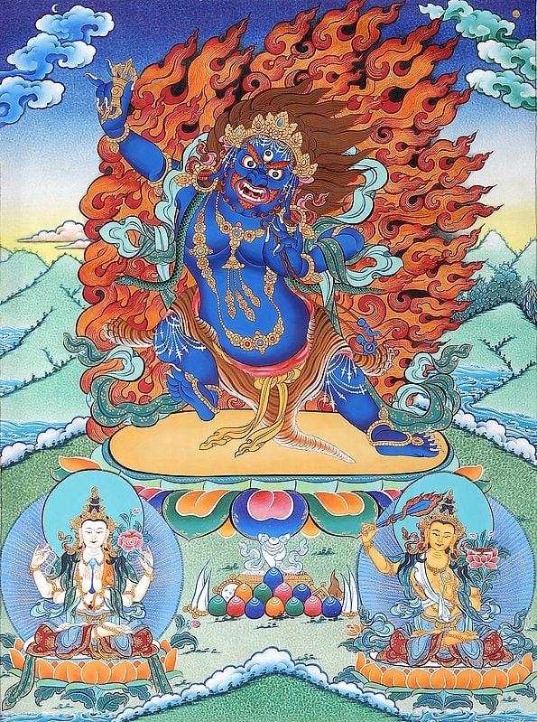 Tibetan Buddhist Two Armed Wrathful Mahakala