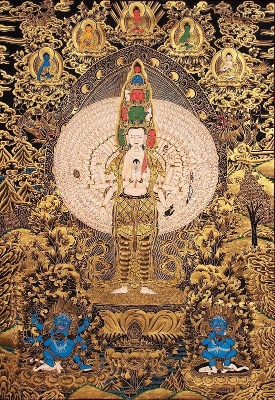 Large Size Samantamukha Avalokiteshvara  (Tibetan Buddhist )