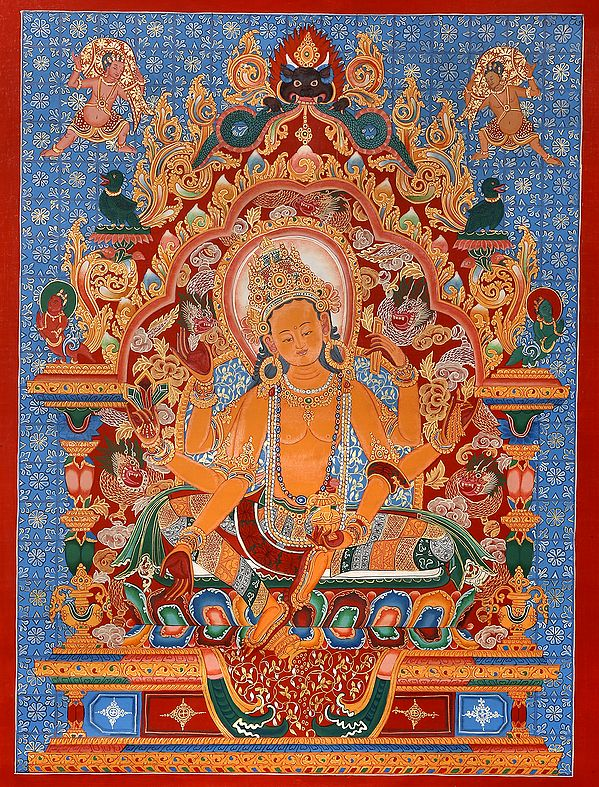 Tibetan Buddhist Vasudhara: The Goddess of Wealth (Brocadeless Thangka)